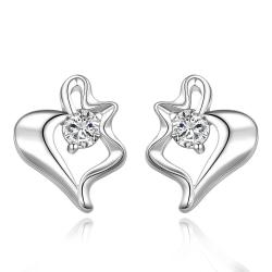 Vienna Jewelry Sterling Silver Curved Heart Shaped Stud Earring - Thumbnail 0