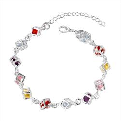 Vienna Jewelry Sterling Silver Colorful Cubed Bracelet - Thumbnail 0