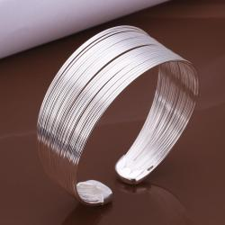 Sterling Silver Multi Lined Bangle - Thumbnail 0