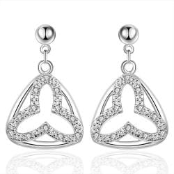 Vienna Jewelry Sterling Silver Hollow Clover Stud Drop Earring - Thumbnail 0
