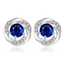 Vienna Jewelry Sterling Silver Curved Circular Sapphire Stud Earring - Thumbnail 0