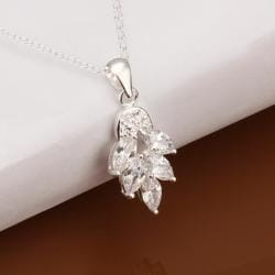 Vienna Jewelry Sterling Silver Dangling Crystal Orchid Drop Necklace - Thumbnail 0