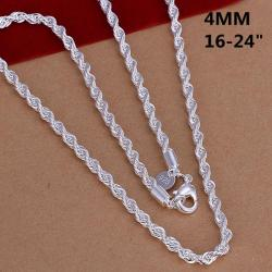 Vienna Jewelry Sterling Silver Swirl Chain Dangling Necklace - Thumbnail 0