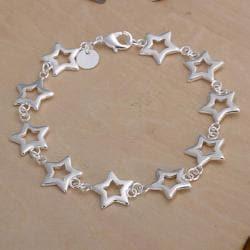 Vienna Jewelry Sterling Silver Multi Stars Bracelet - Thumbnail 0