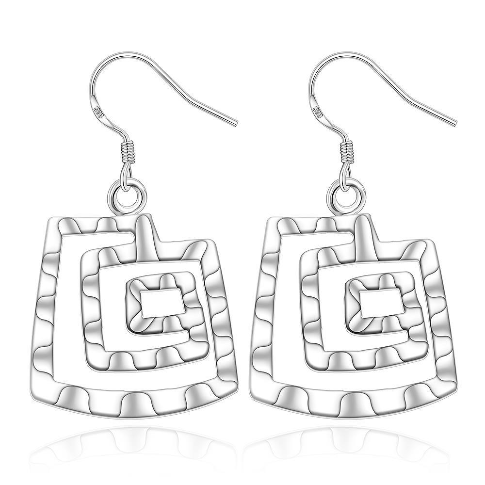 Vienna Jewelry Sterling Silver Geometric Pattern Earring