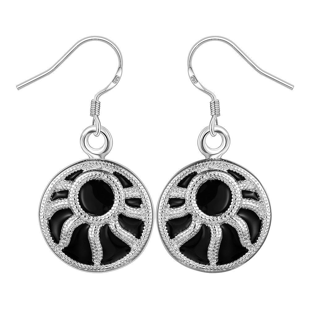 Vienna Jewelry Sterling Silver Onyx Blossoming Floral Drop Earring
