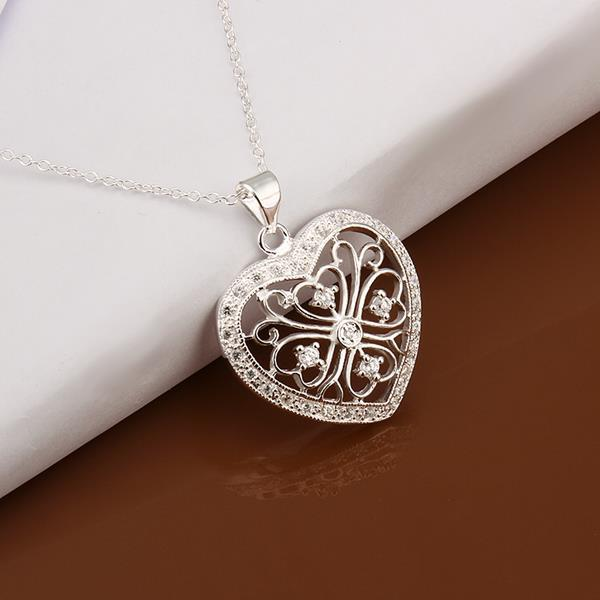 Vienna Jewelry Sterling Silver Laser Cut Petite Heart Drop Necklace