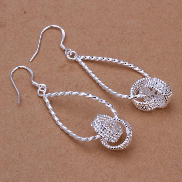 Vienna Jewelry Sterling Silver Love Knot Drop Earring
