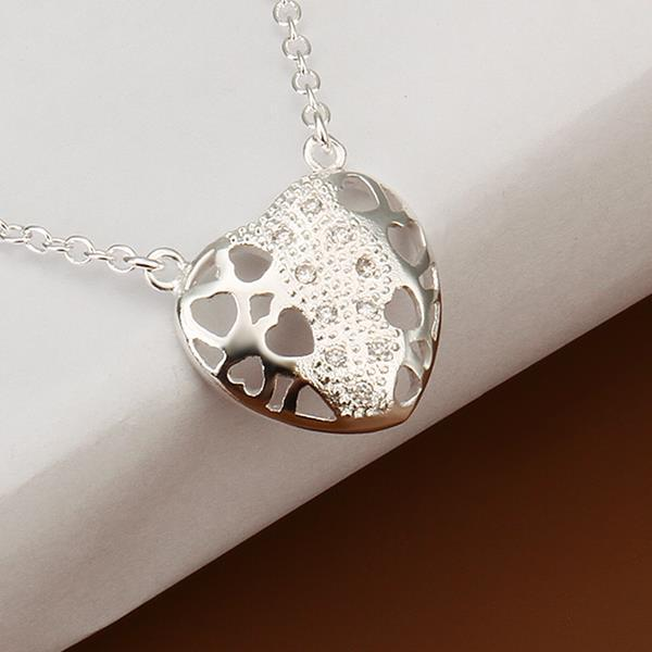 Vienna Jewelry Sterling Silver Laser Cut Heart Emblem Necklace
