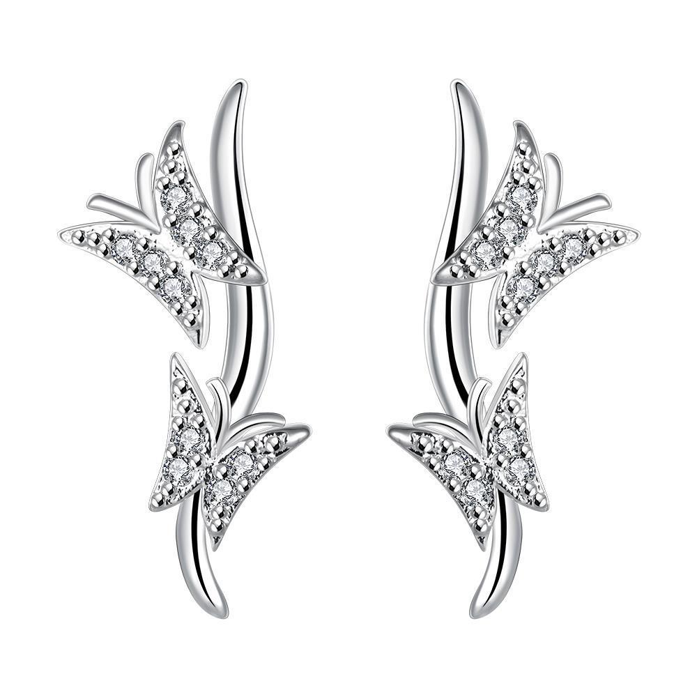 Vienna Jewelry Sterling Silver Wings Emblem Drop Earring