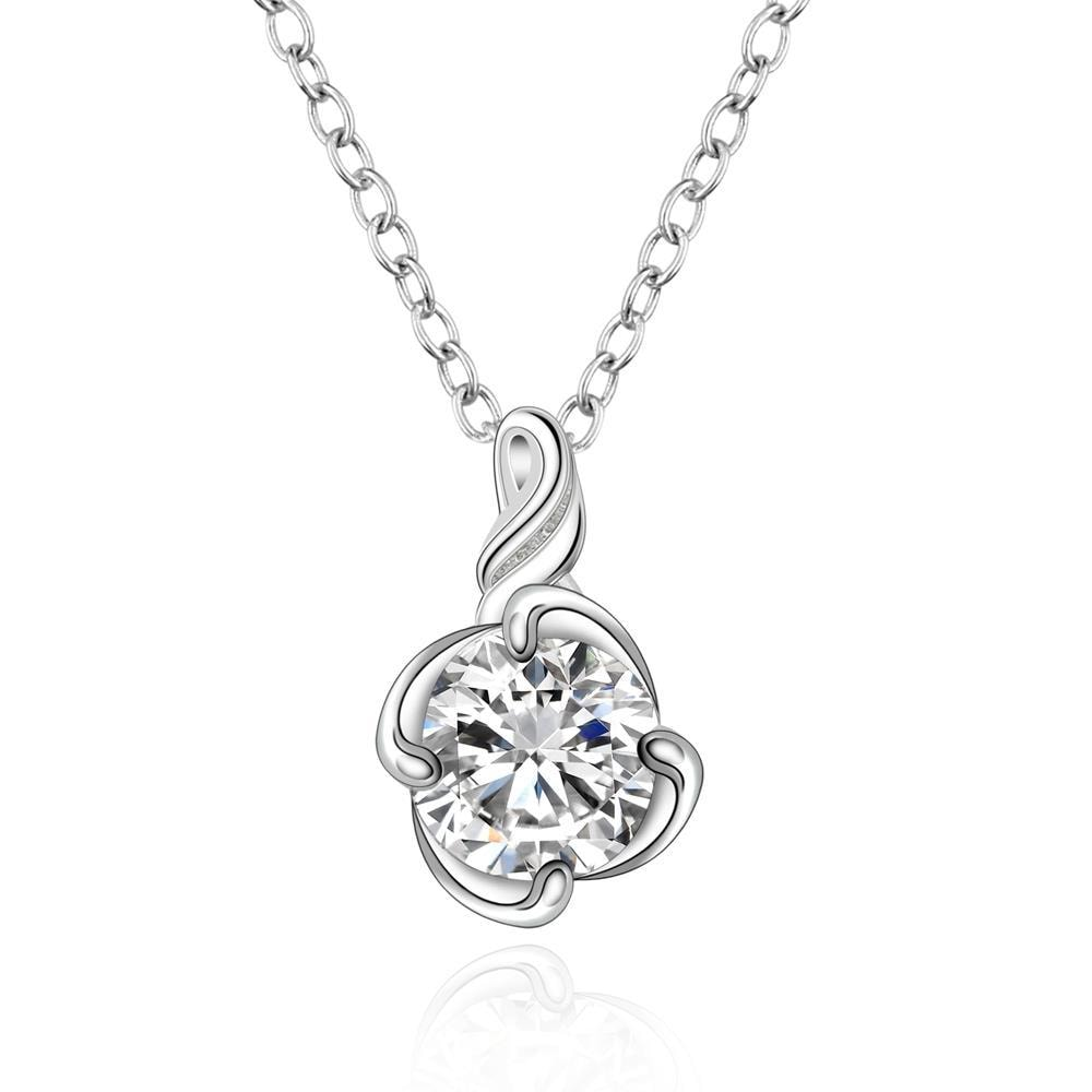 Vienna Jewelry Sterling Silver Crystal Floral Drop Necklace