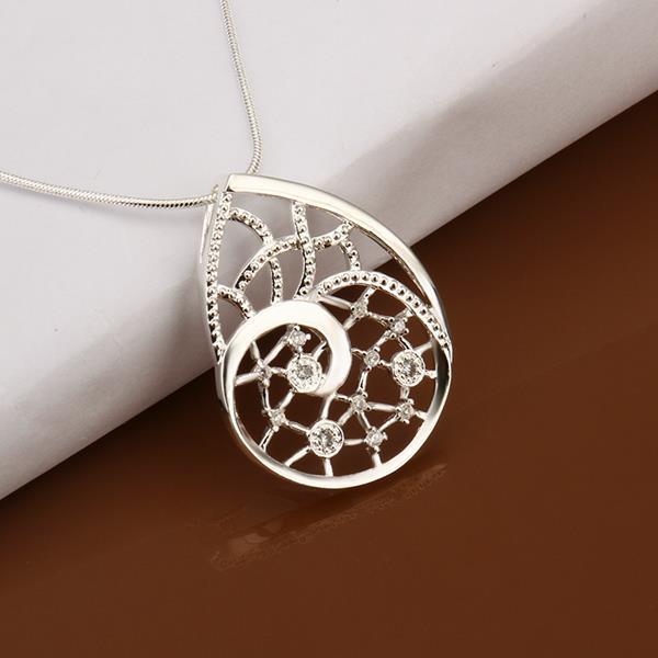 Vienna Jewelry Sterling Silver Laser Cut Emblem Drop Necklace
