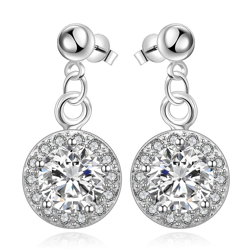 Vienna Jewelry Sterling Silver Circular Crystal Stone Pendant Drop Earring