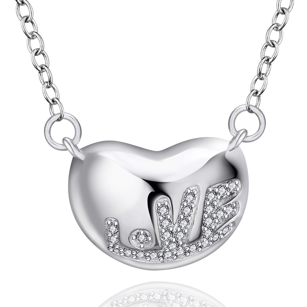 Vienna Jewelry Sterling Silver Heart Bean Pendant Drop Necklace