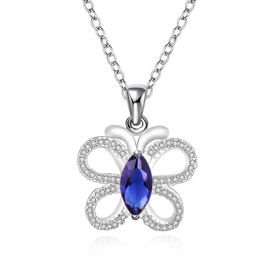 Vienna Jewelry Sterling Silver Petite Mock Sapphire Butterfly Drop Necklace