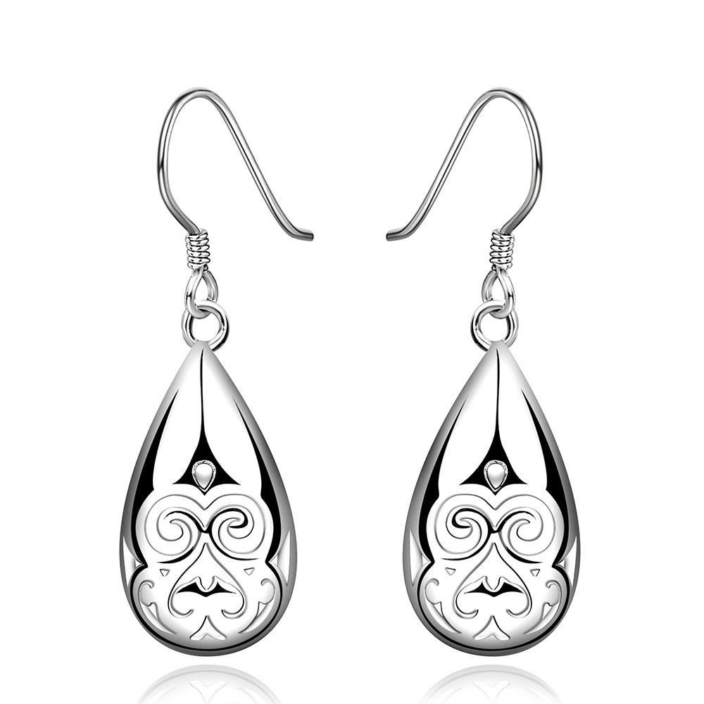 Vienna Jewelry Sterling Silver Laser Cut Drop Earring - Thumbnail 0