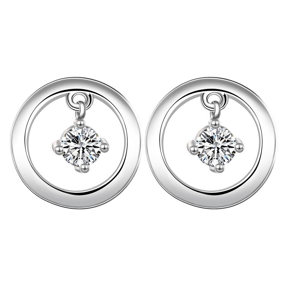 Vienna Jewelry Sterling Silver Petite Mini Circular Stone Drop Stud Earring