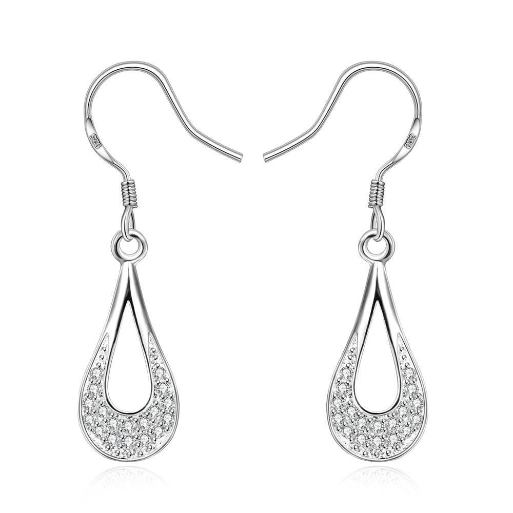 Vienna Jewelry Sterling Silver Laser Cut Curved Drop Drop Earring