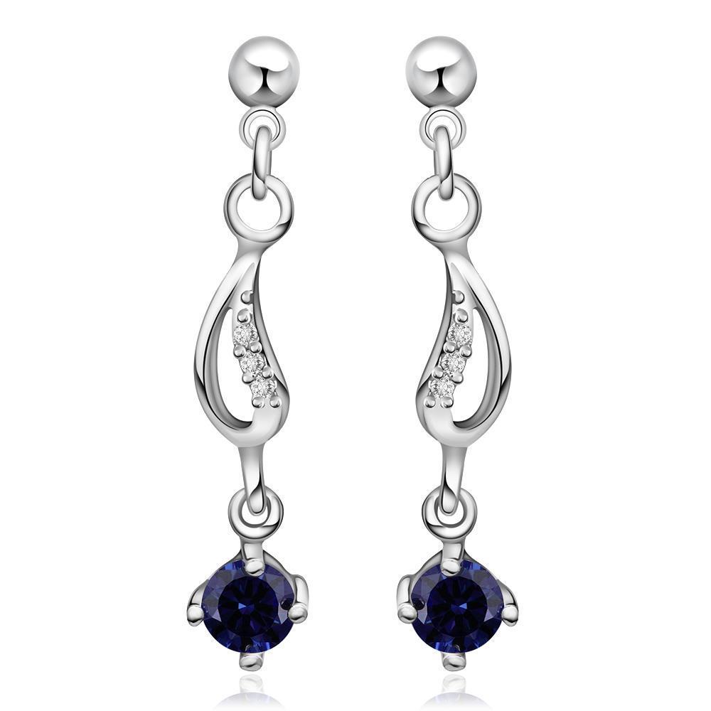 Vienna Jewelry Sterling Silver Sapphire Gem Drop Drop Earring