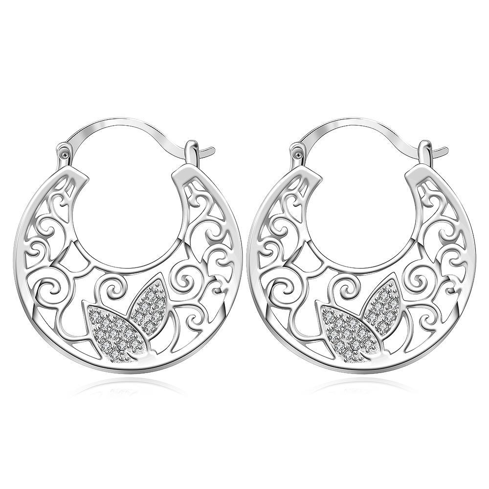 Vienna Jewelry Sterling Silver Crystal Wings Hoop Earring
