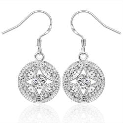 Vienna Jewelry Sterling Silver Circular Crystal Pendant Drop Earring - Thumbnail 0