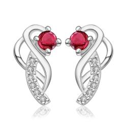 Vienna Jewelry Sterling Silver Abstract Curved Pendant with Ruby Covering Earring - Thumbnail 0
