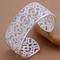 Sterling Silver Laser Cut Heart Shaped Open Bangle - Thumbnail 0