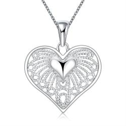 Vienna Jewelry Sterling Silver Laser Cut Heart Pendant Shaped Necklace - Thumbnail 0