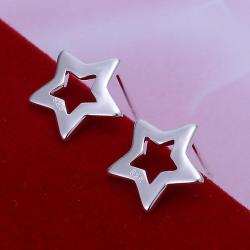 Vienna Jewelry Sterling Silver Hollow Starts Stud Earring - Thumbnail 0