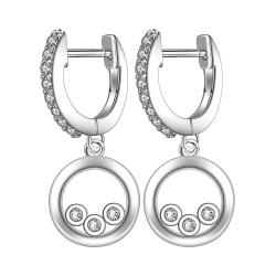Vienna Jewelry Sterling Silver Drop Clasp Earring - Thumbnail 0