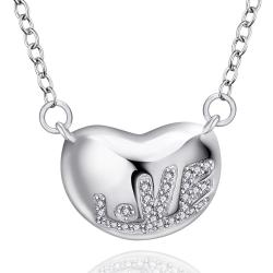 Vienna Jewelry Sterling Silver Heart Bean Pendant Drop Necklace - Thumbnail 0