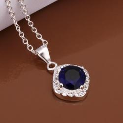 Vienna Jewelry Sterling Silver Petite Mock Sapphire Gem Emblem Necklace - Thumbnail 0