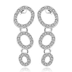 Vienna Jewelry Sterling Silver Trio-Circular Abstract Earring - Thumbnail 0