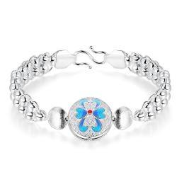 Vienna Jewelry Sterling Silver Petite Sapphire Clover Emblem Bracelet - Thumbnail 0