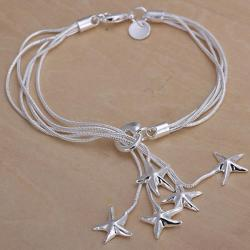 Vienna Jewelry Sterling Silver Dangling Starfish Closure Bracelet - Thumbnail 0