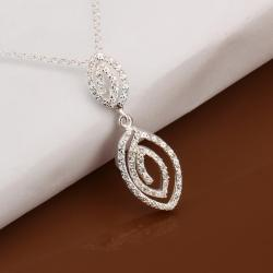 Vienna Jewelry Sterling Silver Duo Swirl Emblem Drop Necklace - Thumbnail 0