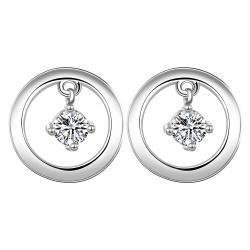Vienna Jewelry Sterling Silver Petite Mini Circular Stone Drop Stud Earring - Thumbnail 0