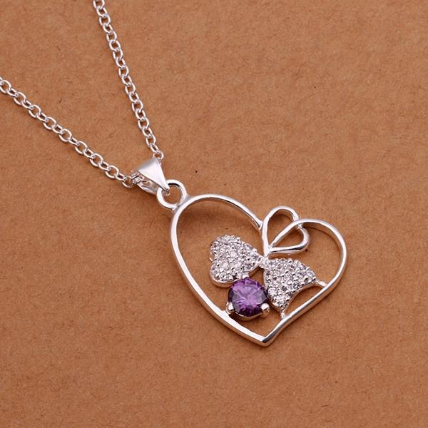 Vienna Jewelry Sterling Silver Purple Citrine Hollow Hearts Emblem Necklace