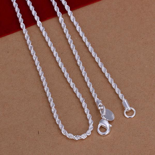 Vienna Jewelry Sterling Silver Twisted Chain Necklace