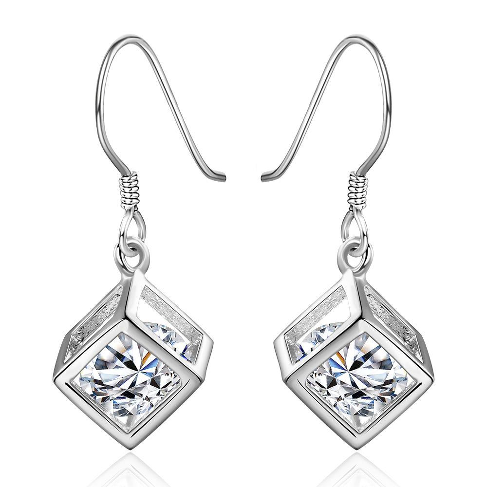 Vienna Jewelry Sterling Silver Rubix Cube Drop Earring