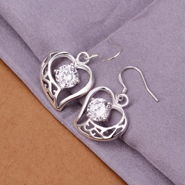 Vienna Jewelry Sterling Silver Petite Hollow Hearts with Crystals
