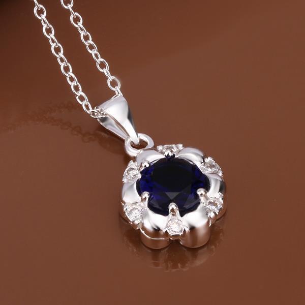 Vienna Jewelry Sterling Silver Mock Sapphire Gem Emblem Necklace
