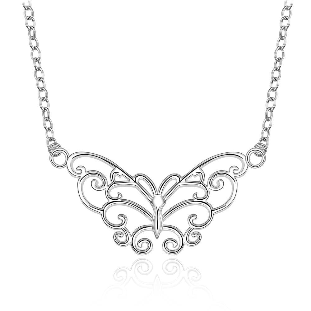 Vienna Jewelry Sterling Silver Laser Cut Floral Design Drop Necklace