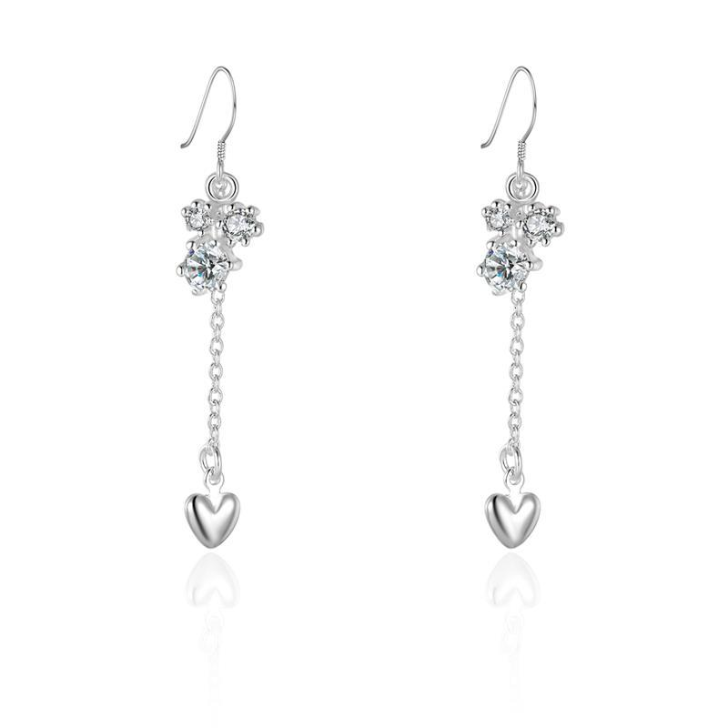 Vienna Jewelry Sterling Silver Floral Orchid Drop Heart Earring
