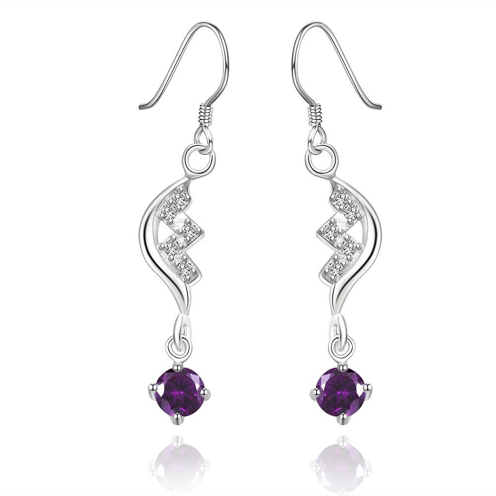 Vienna Jewelry Sterling Silver Purple Citrine Curved Stones Drop Earring