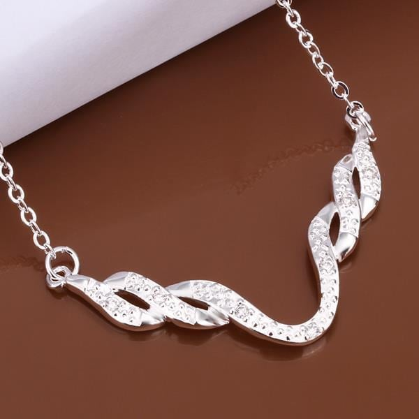 Vienna Jewelry Sterling Silver Swirl Design Necklace