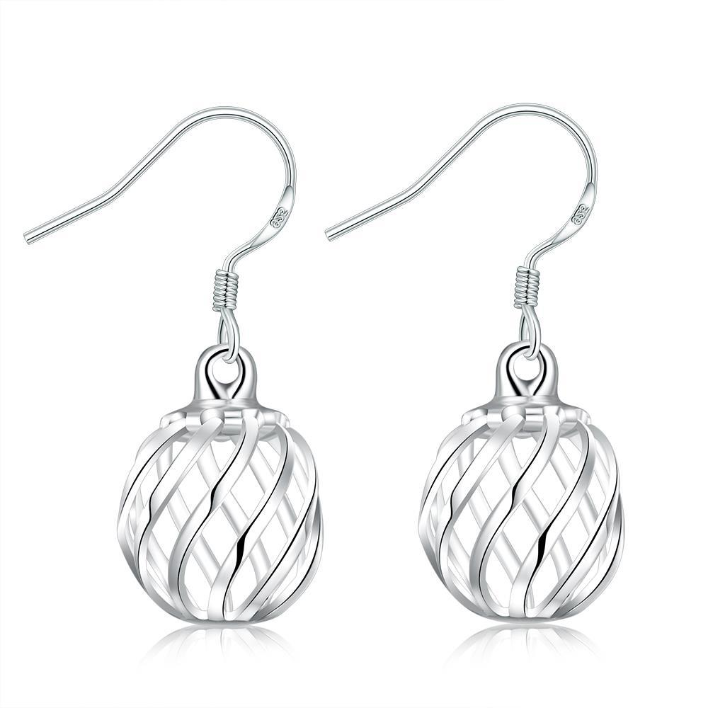 Vienna Jewelry Sterling Silver Laser Cut Ball Drop Earring