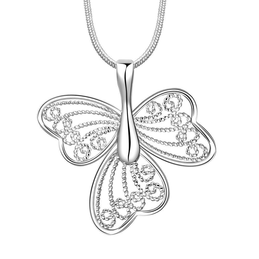 Vienna Jewelry Sterling Silver Laser Cut Trio-Petals Drop Necklace