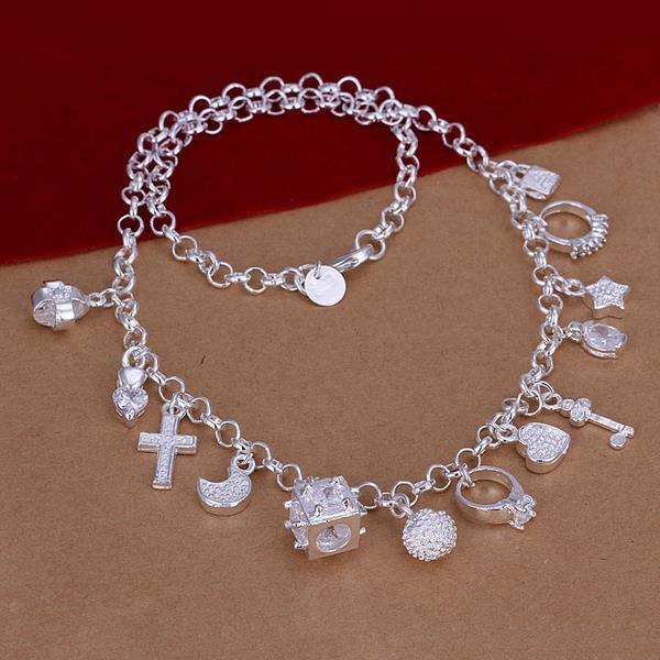 Vienna Jewelry Sterling Silver Muli-Charms Necklace
