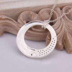 Vienna Jewelry Sterling Silver Petite Circular Emblem Drop Necklace - Thumbnail 0
